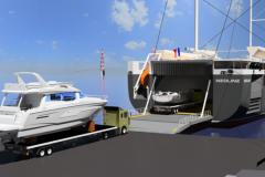 Simulación de carga del barco Bénéteau en el velero ro-ro Neoline